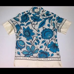 Gucci watercolor floral print silk twill blouse.